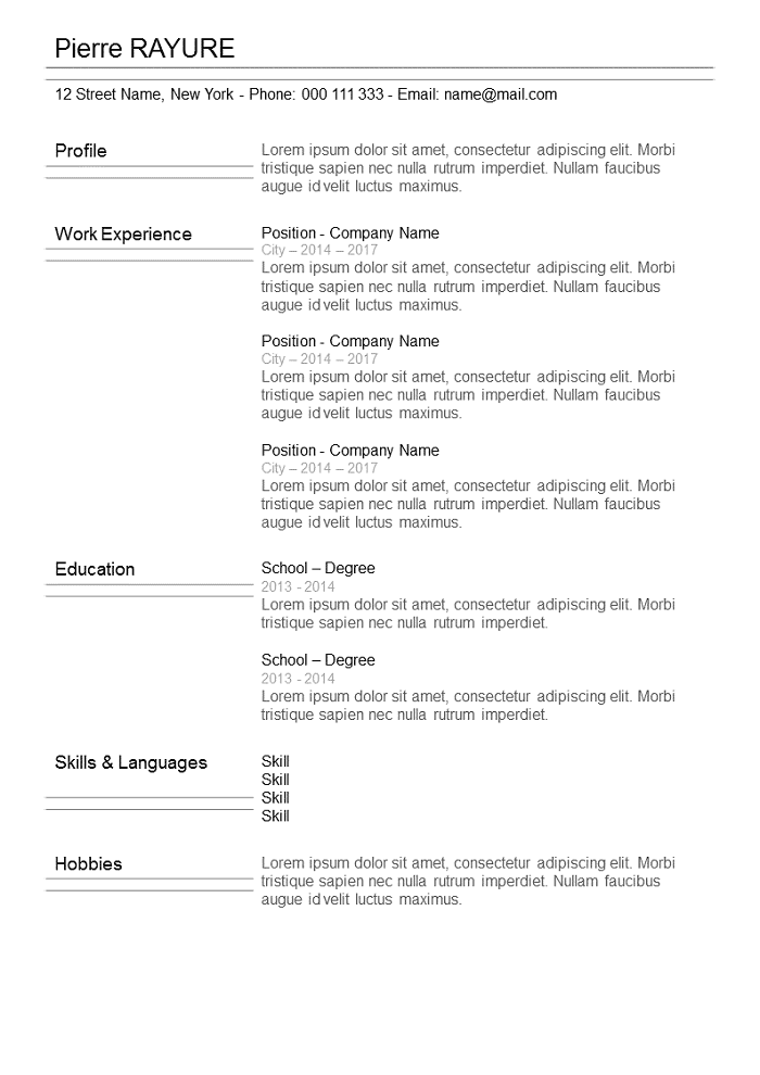 Resume With lines