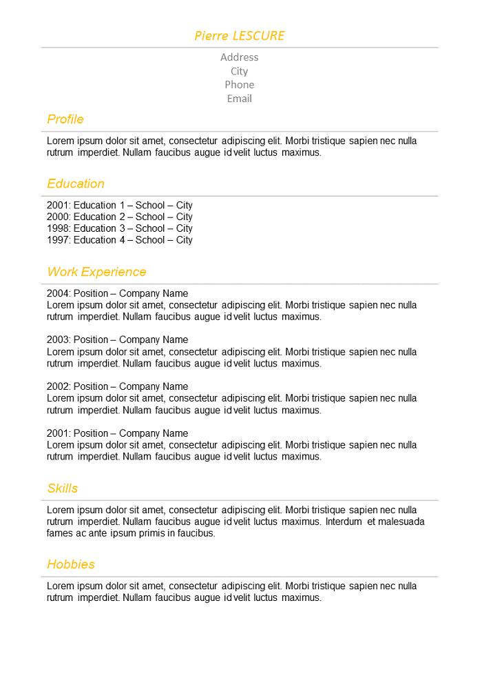 Resume Basic orange