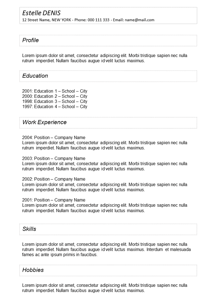 Resume With frame