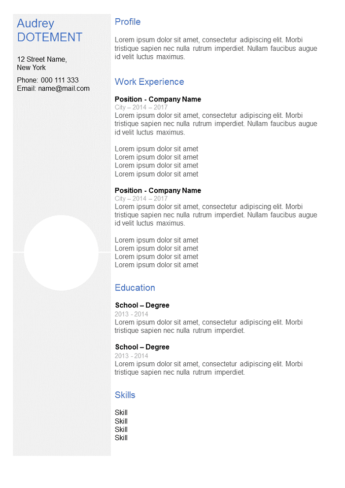 Resume Clear grey with column
