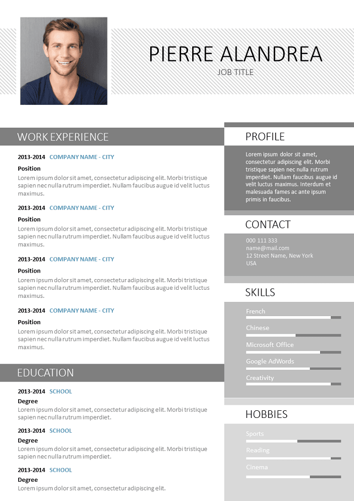 Free Resume Created With Photoshop To Download