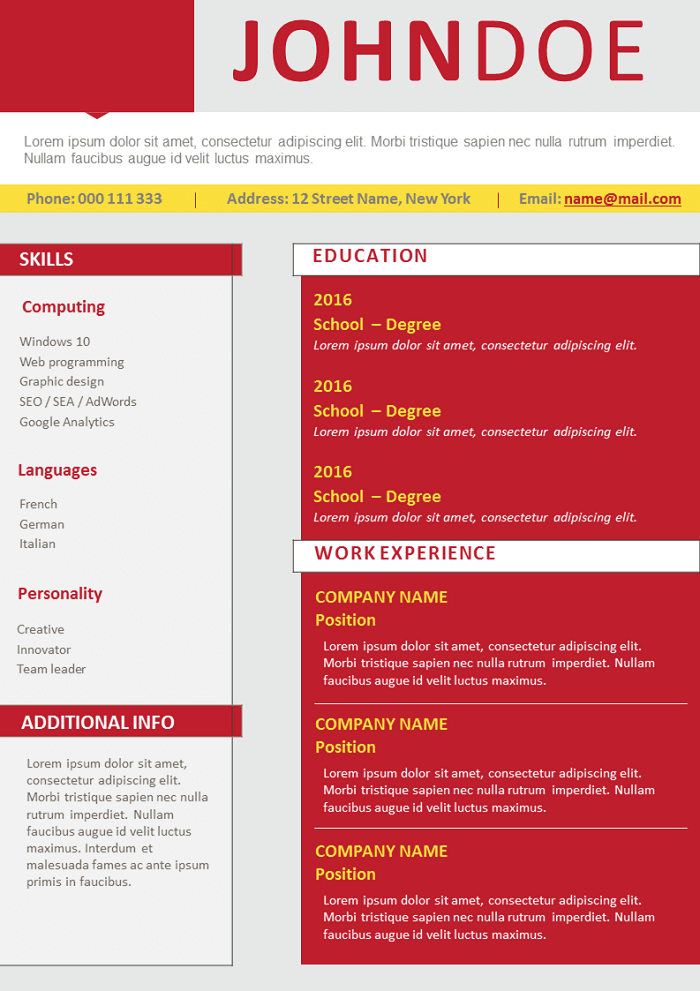 Two column red Resume