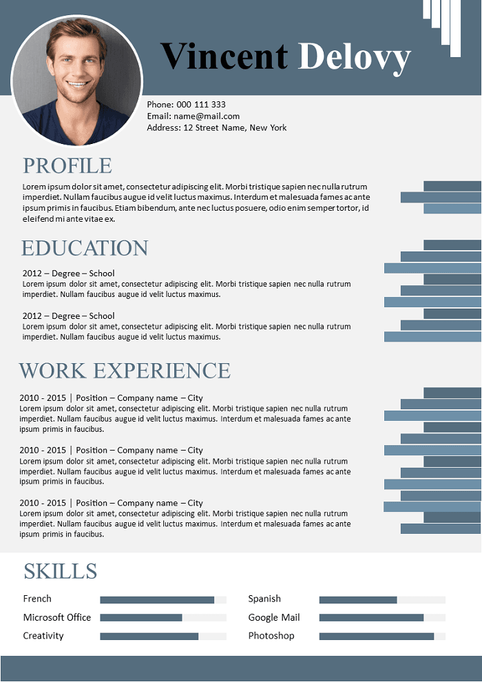 Graded blue design Resume