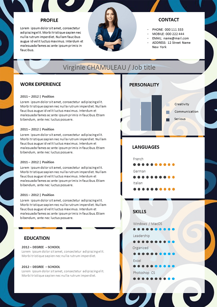 Plain coloured Resume