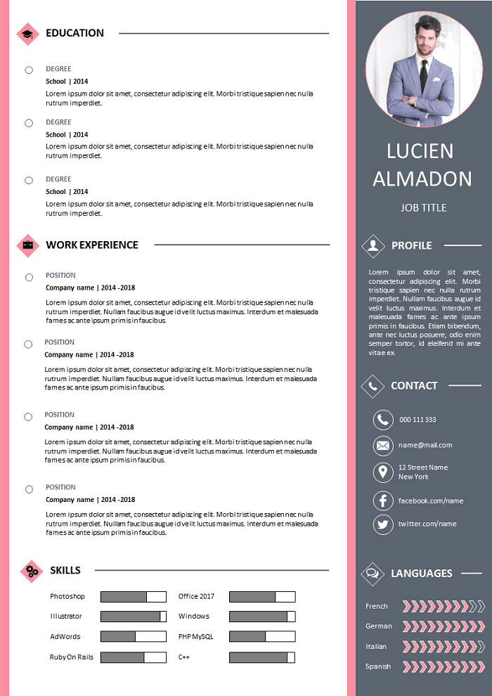 free resume two columns to download