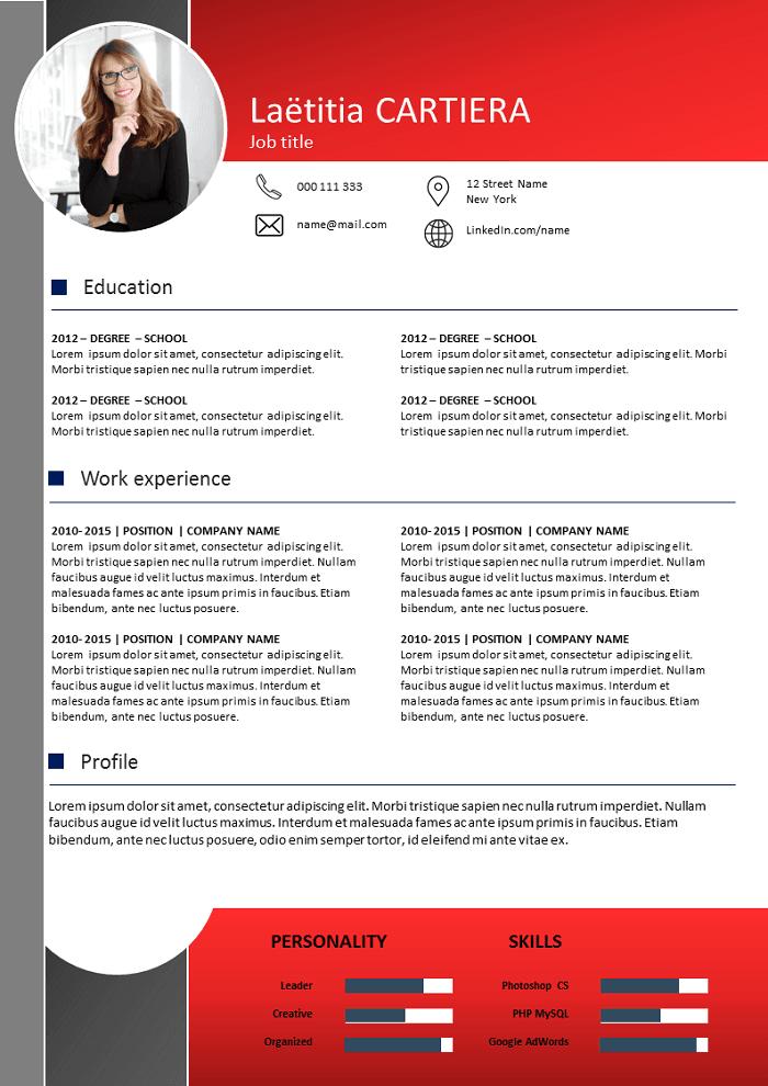 Dark and Red Resume
