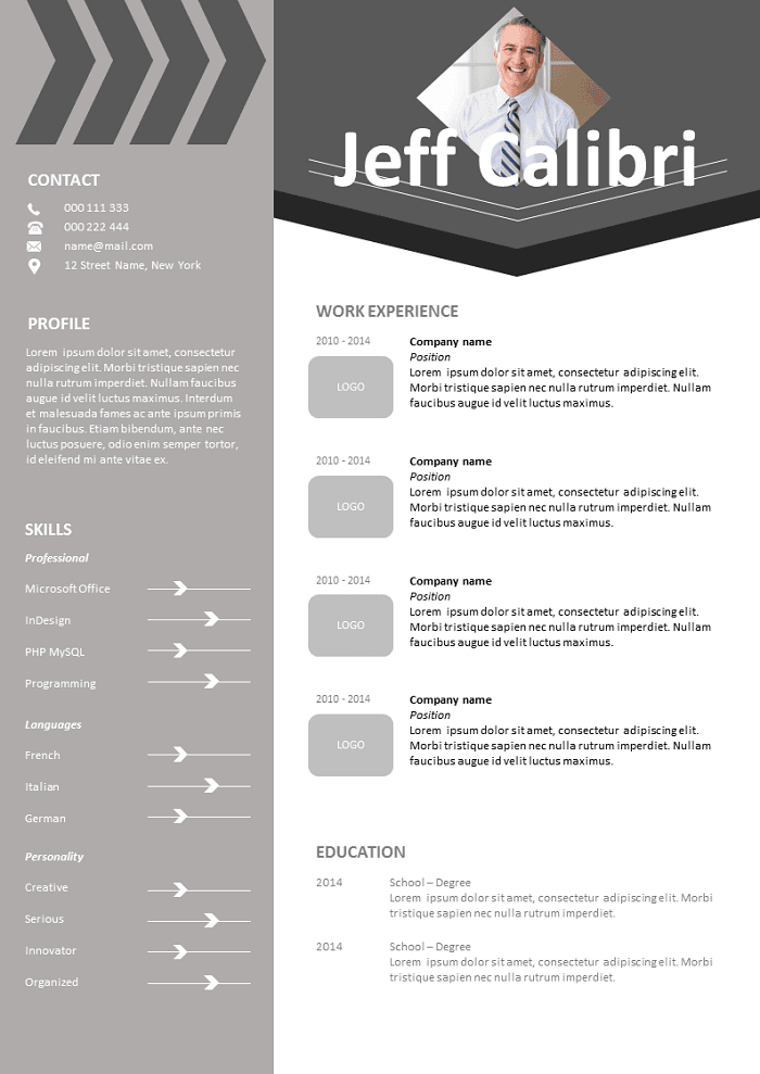 free resume calibri to download
