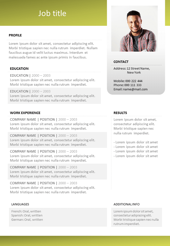 Resume Green and uncluttered