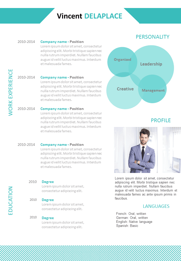 Bright and uncluttered resume CV