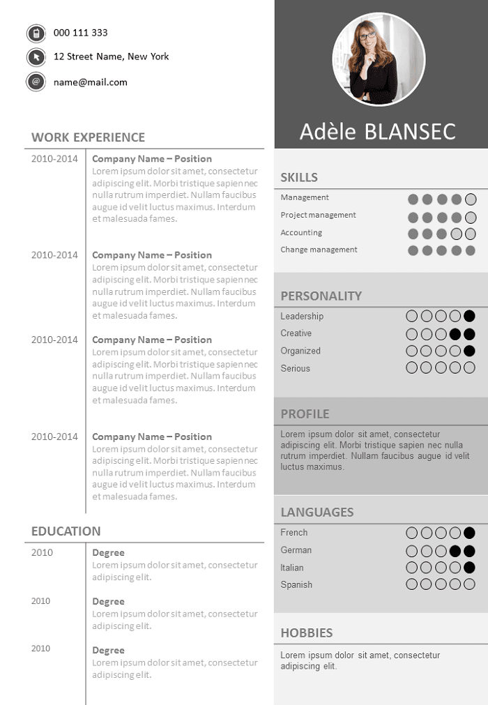 Resume / CV Shades of grey