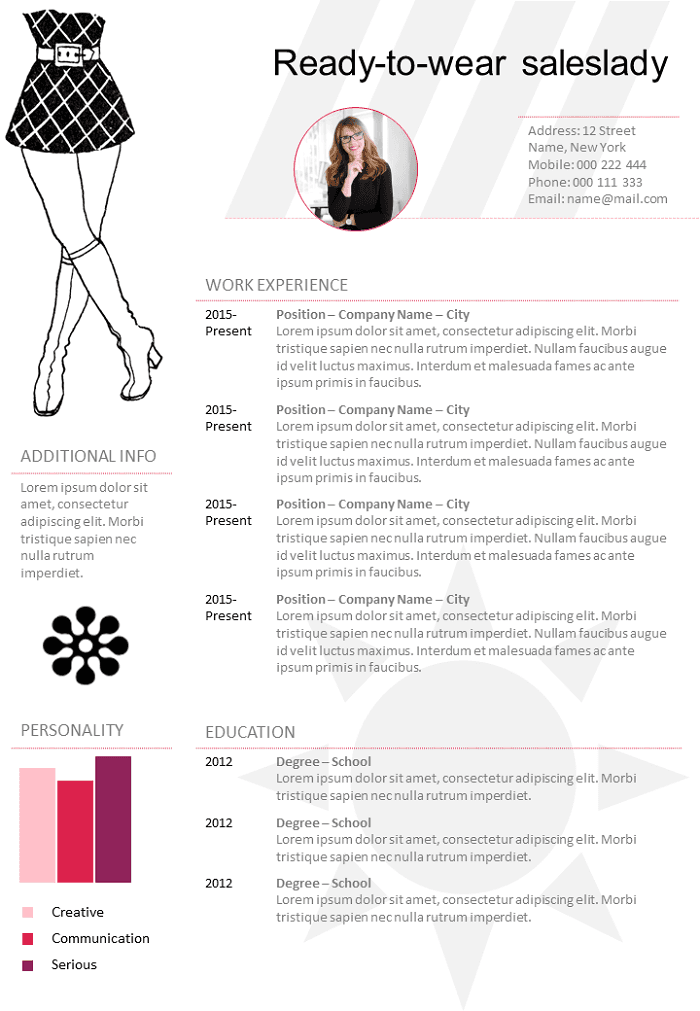 wear sales lady resume