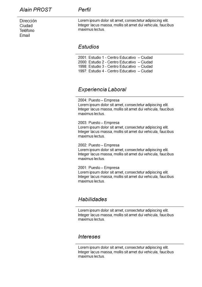 Modelo De Cv Simple Gris Para Descargar Libre