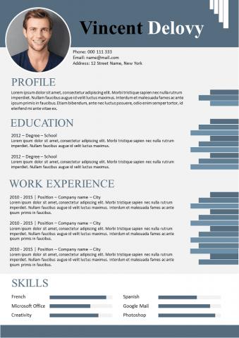 Graded blue design Resume