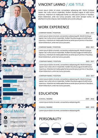 Floral and coloured resume