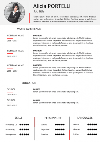Sober and classic Resume