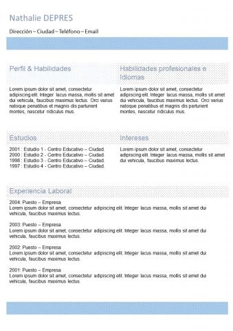 Curriculum Azul con columna