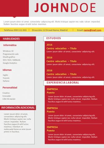 CV Rojo con dos columnas