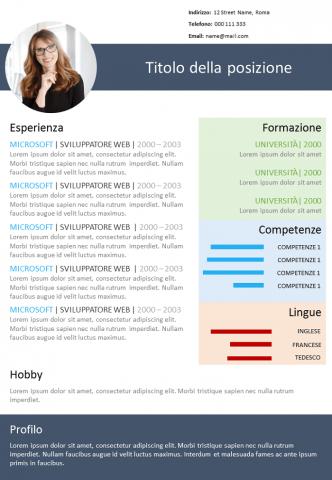 CV Colorato da Modicare
