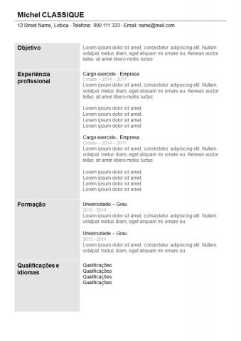 CV Com Coluna Cinza