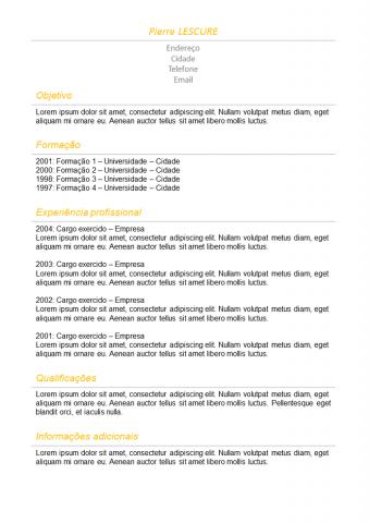 CV Simples Laranja