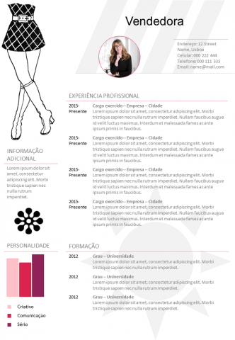 CV Vendedora Loja de Roupas